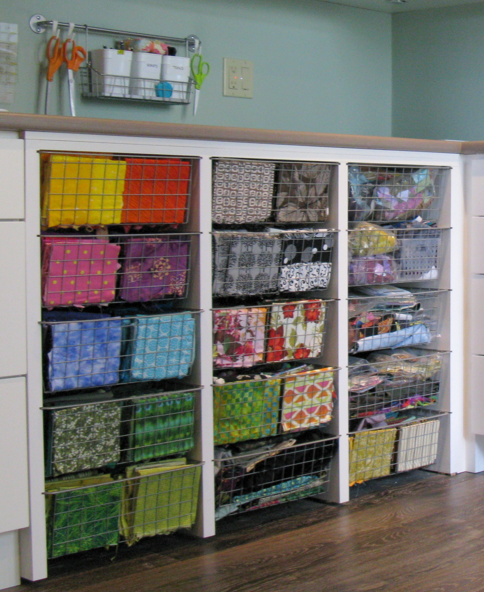 The real studio tour week 2 terry aske art quilt studio for Fabric storage