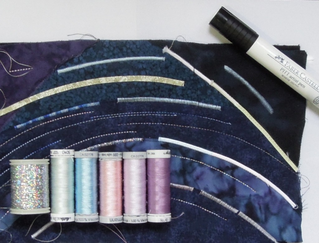 threads and white ink for star trails